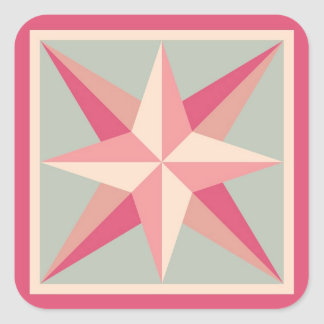 Quilt Stickers - Beveled Star (Pink/grey)