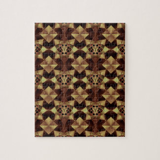 Quilt Style Pattern in Maroon and Tan Puzzle