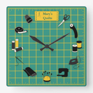 Quilt Time Customise the Label Square Wall Clock