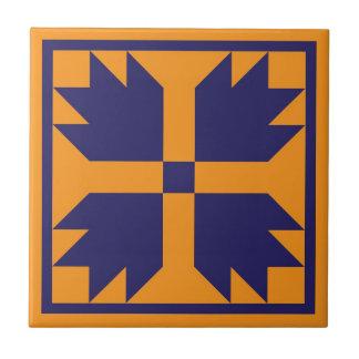 Quilt Trivet – Bear Paw Block (blue/gold)