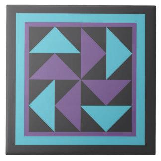 Quilt Trivet - Dutchman's Puzzle (purple/black) Large Square Tile
