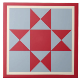 Quilt Trivet – Ohio Star (scarlet/grey)