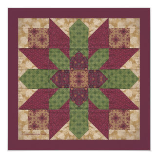 "Quilted Green Burgundy Star 5.25"" Square Invitation Card"
