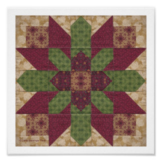 Quilted Green Burgundy Star Poster