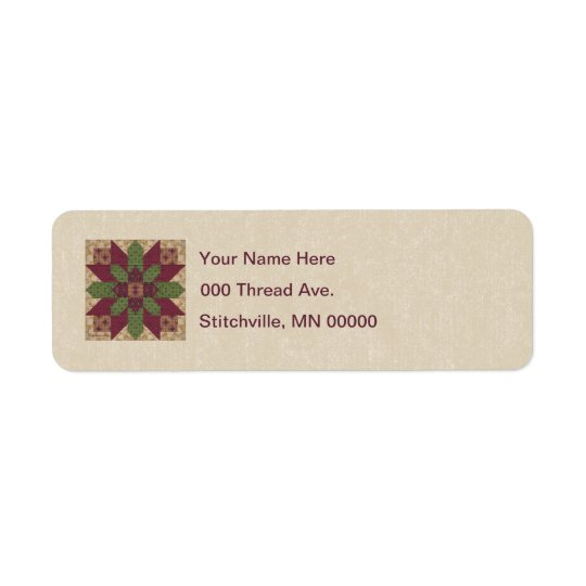 Quilted Green Burgundy Star Return Address Label