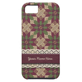 Quilted Green Burgundy Star Tough iPhone 5 Case