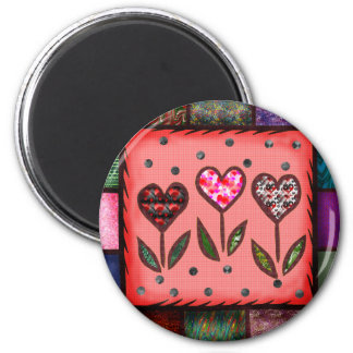 Quilted Hearts T-shirts and Gifts 6 Cm Round Magnet