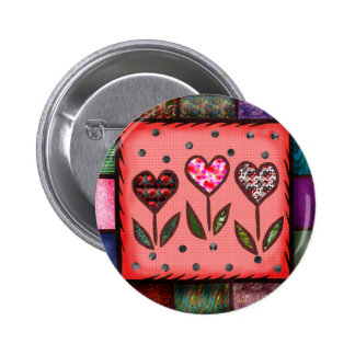 Quilted Hearts T-shirts and Gifts 6 Cm Round Badge