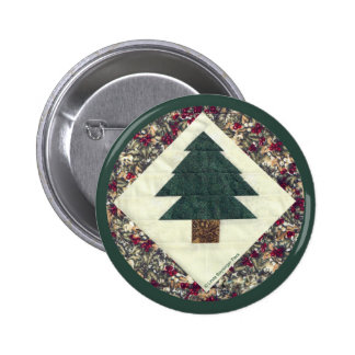 Quilted Pine Tree 6 Cm Round Badge