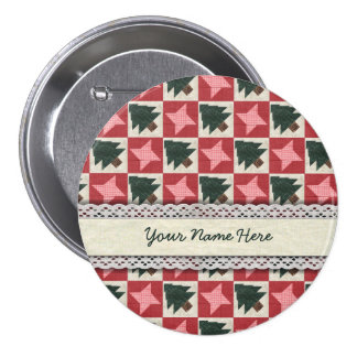 Quilted Pine Trees and Stars 7.5 Cm Round Badge
