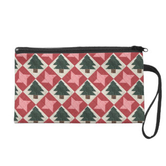 Quilted Pine Trees and Stars Wristlet Clutches