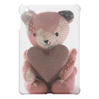 quilted teddy bear with calico heart ipad case