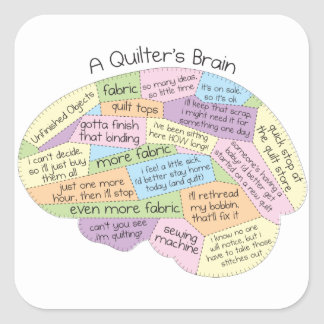 Quilter's Brain Square Sticker