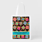 Quilters Love to Recycle Fabric Black Quilt Art Reusable Grocery Bag
