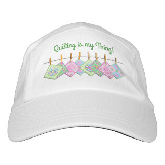 QUILTING IS MY THING HAT - QUILT ON CLOTHESLINE