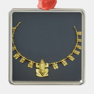 Quimbaya necklace with frogs, from Colombia Silver-Colored Square Decoration
