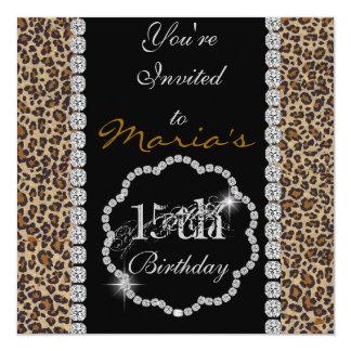 QUINCEANERA15th CHEETAH BLING Birthday Invitations