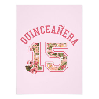 Quinceanera 15 Athletic Pink Floral 14 Cm X 19 Cm Invitation Card