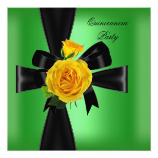 Quinceanera 15 Birthday Party Lime Green Yellow Personalized Invite