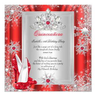 Quinceanera 15 Birthday Party Red Heels 2 13 Cm X 13 Cm Square Invitation Card