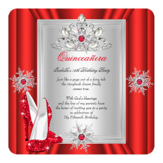 Quinceanera 15 Birthday Party Red Heels 13 Cm X 13 Cm Square Invitation Card