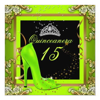 Quinceanera 15 Lime Yellow Gold Birthday Party 13 Cm X 13 Cm Square Invitation Card