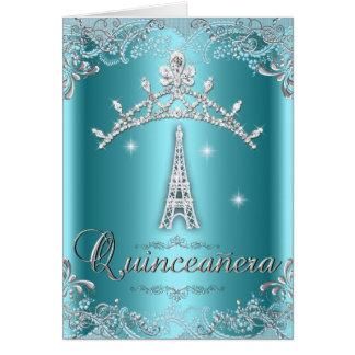 Quinceanera 15 Teal Blue Silver Tiara Eiffel Tower Card