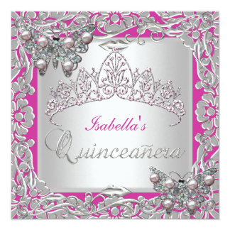 Quinceanera 15th Birthday Butterflies Silver Pink Card