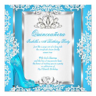 Quinceanera 15th Birthday Cinderella Blue Shoe 13 Cm X 13 Cm Square Invitation Card