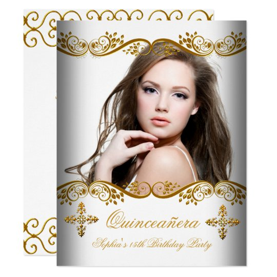 Quinceañera 15th Birthday Gold White Lace Photo Card
