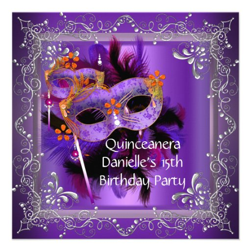 Quinceanera 15th Birthday Masquerade Mask Purple Announcement