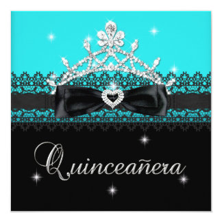 Quinceanera 15th Birthday Party Blue Black Lace Card