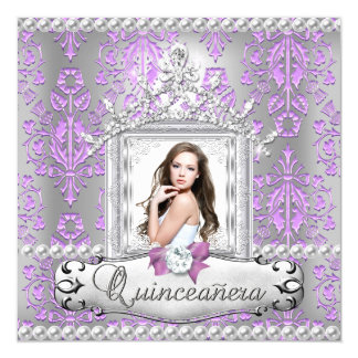 Quinceanera 15th Birthday Party Damask Lilac Pearl Card