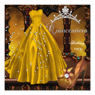 Quinceanera 15th Birthday Party Gold Dress 13 Cm X 13 Cm Square Invitation Card