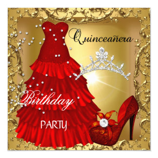 quinceanera 15th Birthday Party Gold Red Dress Card