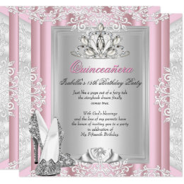 15th birthday invitations announcements zazzle quinceanera 15th birthday party light pink shoes card filmwisefo Image collections