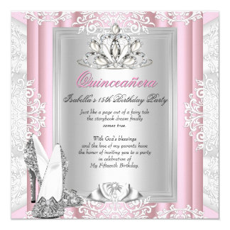 Quinceanera 15th Birthday Party Light Pink Shoes 13 Cm X 13 Cm Square Invitation Card
