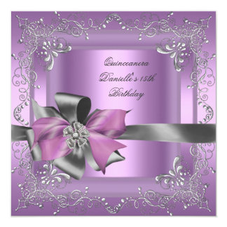 Quinceanera 15th Birthday Party Lilac Pink Silver 13 Cm X 13 Cm Square Invitation Card