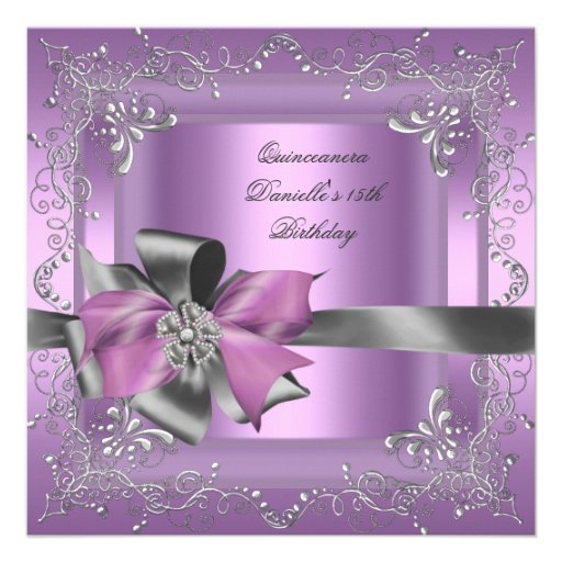 Quinceanera 15th Birthday Party Lilac Pink Silver Invites