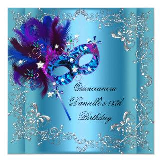 Quinceanera 15th Birthday Party Masquerade Blue 13 Cm X 13 Cm Square Invitation Card