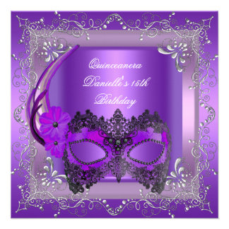 Quinceanera 15th Birthday Party Masquerade Purple Personalized Announcements