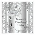 Quinceanera 15th Birthday Party Masquerade Silver Custom Invite