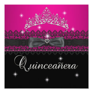 Quinceanera 15th Birthday Party Pink Black Lace 4 Card