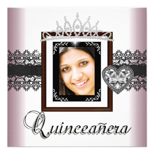 Quinceanera 15th Birthday Party Pink Black Lace 5 Custom Invitation