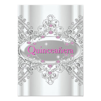 Quinceañera 15th Birthday Party Pink Diamonds Card