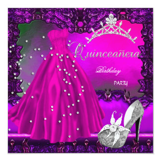 Quinceanera 15th Birthday Party Pink Dress 13 Cm X 13 Cm Square Invitation Card