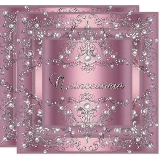 Quinceanera 15th Birthday Party Pink Pearl Card