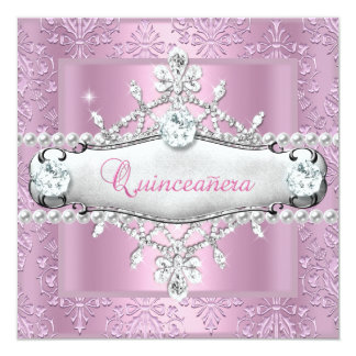 Quinceanera 15th Birthday Party Pink Tiara 13 Cm X 13 Cm Square Invitation Card