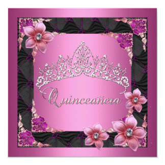Quinceanera 15th Birthday Party Pink Tiara Black Card