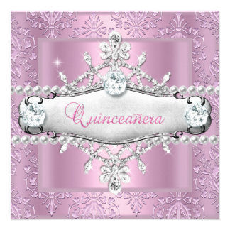 Quinceanera 15th Birthday Party Pink Tiara Personalized Announcement